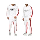 Mens New Trendy Letter Print Colorblock Hoodie Sport Loose Sweatpants Joggers Casual Two-Piece Set