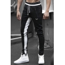 Mens Drawstring Waist Fashion Colorblock Zip Pocket Slim Sport Training Pants