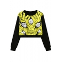 Cool Pattern Womens Basic Round Neck Long Sleeve Cropped Black Sweatshirt