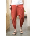 Chic Simple Embroidery Drawstring Waist Baggy Drop-Crotch Summer Harem Pants for Guys