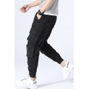 Men's Basic Drawstring Waist Multi-Pocket Gathered Cuff Cotton Loose Cargo Pants