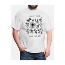 Trendy Floral Letter PLANT THESE SAVE THE BEES Printed Short Sleeve Casual Tee