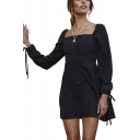 Womens Vintage Solid Color Square Neck Tied Cuff Long Sleeve Button Down Mini A-Line Dress