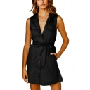 Women's Summer Simple Plain Notched Lapel Collar Sleeveless Bow-Tied Waist Button-Down Mini A-Line Dress