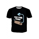 Fashion Letter WHERE'S YOUR GOD NOW Round Neck Short Sleeve Black Graphic Tee