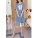 SHY GIRL Figure Printed Round Neck Short Sleeve Layered Ruffle Tulle Patched Midi A-Line T-Shirt Dress