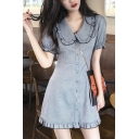 Girls Summer Cute Sweet Peter-Pan Collar Short Sleeve Ruffled Hem Mini A-Line Dress