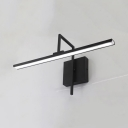 Angle Adjustable Linear Vanity Light Antifogging Acrylic LED Wall Lamp in Black for Bedroom