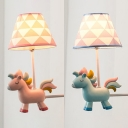Blue/Pink Unicorn LED Sconce Light 1 Light Lovely Resin Wall Lamp for Boy Girl Bedroom