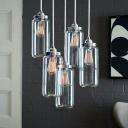 5 Lights Cylinder Pendant Lamp Simple Style Glass Ceiling Light in Chrome for Dining Room