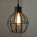 Restaurant Melon Caged Pendant Light Metal Single Light Antique Style Black Suspension Light