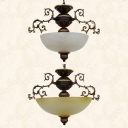 Vintage Dome Shade Chandelier 3 Lights Frosted Glass Semi Flushmount Light in White/Yellow for Bedroom