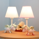 1 Light Unicorn Desk Light Dimmable Animal Resin LED Reading Lamp in Blue/Pink for Child Bedroom