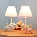1 Light Unicorn Desk Light Dimmable Animal Resin LED Reading Lamp in Blue/Pink for Child Bedroom