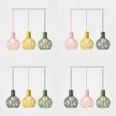 Metal Melon Cage Island Light 3 Lights Macaron Loft Multi-Color Pendant Light for Restaurant