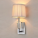 Fabric Fold Drum Wall Lamp with Crystal Villa Stair 1 Light Modern Sconce Wall Light in White