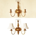 Tapered Shaded/Exposed Sconce Light with Crystal Beads 2 Light Antique Metal Wall Light in Satin Brass for Hotel