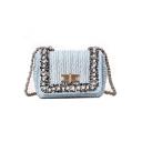 Chic Plain Lace Pearl Embellishment Straw Square Crossbody Bag 18*8*15 CM