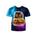 Cute Cartoon Hamburger Cat Galaxy Starry Printed Short Sleeve T-Shirt