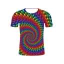 Stylish Colorful Whirlpool 3D Printed Basic Round Neck Short Sleeve T-Shirt