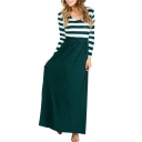 Trendy Striped Printed V-Neck Long Sleeve Tied Waist Maxi Dress for Women