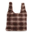 Fashion Personalized Plaid Pattern Hairy Tote Bag for Women 31*5*28 CM