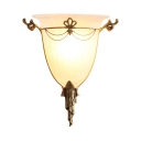 1 Light Bell Shade Sconce Light Colonial Style Frosted Glass Wall Light in White for Bathroom