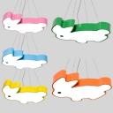 Cartoon Rabbit Pendant Lamp Acrylic Eye-Caring Animal Suspension Light for Nursing Room