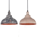 Industrial Camouflage/White Pendant Light Domed Shade Metal Hanging Light for Factory