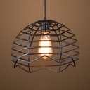 Restaurant Dome Caged Pendant Light Metal Single Light Industrial Black Suspension Light