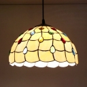 Scalloped Shade Ceiling Pendant with Colorful Beads 1 Light Tiffany Style Glass Hanging Light for Balcony