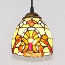 Dome Shade Bathroom Hanging Light Stained Glass 1 Light Tiffany Style Victorian Pendant Light
