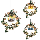 Bloom & Bird Cafe Hanging Light Glass 1 Light Rustic Style Ceiling Pendant in Blue/Yellow/Multi-Color