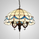 Tiffany Style White Hanging Light Bowl Shade 3 Lights Pull Chain Glass Ceiling Light for Hotel