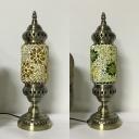Moroccan Star Cylinder Table Light 1 Light Glass Metal Desk Light in Green/Yellow for Restaurant