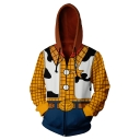 3D Yellow Plaid Pattern Comic Cosplay Costume Long Sleeve Zip Up Relaxed Fit Hoodie