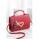 Women's Fashion Plain Metal Heart Tassel Embellishment Crossbody Satchel Bag 200*8*15 CM