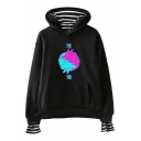 Vaporwave Stylish Double Wolf Printed Fake Two-Piece Casual Loose Hoodie