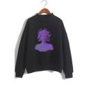 Fashion Vaporwave Figure Printed Basic Long Sleeve Regular Fit Pullover Sweatshirt