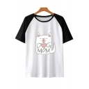 Cute Cartoon Cat Letter DOG MOM Print Raglan Short Sleeve Summer Casual Tee