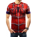Men's Cool Spider Print Far From Home Short Sleeve Red Slim Fit Training T-Shirt