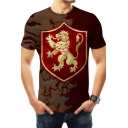 House Lannister Badge Lion Printed Basic Round Neck Short Sleeve Slim Fit T-Shirt