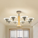 Modern Bell Shade Chandelier Metal 6/8/12 Lights Gray/Green Hanging Lamp for Kindergarten