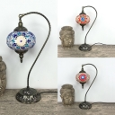 Glass Sphere Hanging Table Light Cafe Restaurant 1 Light Moroccan Table Lamp in Blue/Multi-Color/Orange