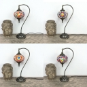 Stained Glass Lantern Table Light 1 Light Turkish Style Table Lamp with Plug-In Cord for Bar