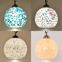Globe Living Room Hanging Lamp Glass 1 Light Bohemia Style Suspension Light with 9 Designs for Choice