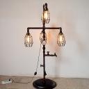 Bulb Cage Living Room Floor Lamp Metal 4 Lights Industrial Plug In Floor Lamp with Water Pipe