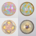 Glass Domed Shade Ceiling Light 16 Inch Mosaic Multi-Color Flush Light for Kid Bedroom