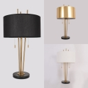 Fabric Drum Desk Light 1 Light Antique Style Pull Chain Reading Light in Black/Gold/White for Hotel