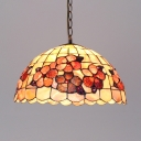 Rustic Style Plum Blossom Ceiling Lamp Glass Shell 16 Inch Beige Suspension Light for Bar